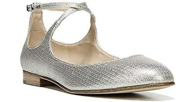 269056470ba10 $185 size 8 Via Spiga Yovela Platinum Ballet Flat Ankle Strap ...