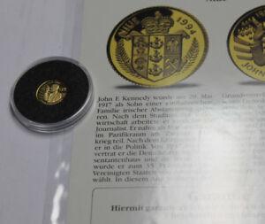 """""""die Kleinsten Goldmünzen"""" - Niue 1/25 Unze Gold 25 $ 1994 Kennedy"""