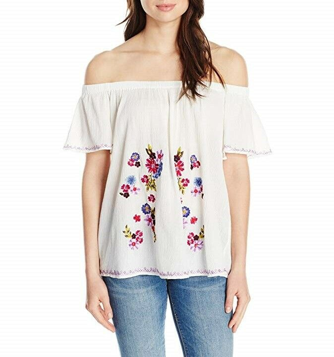 French Connection Embroiderot Peasant Top Weiß X-Small