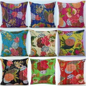 Indian Tropical Fruit Print Kantha Cushion Pillow Covers Wholesale