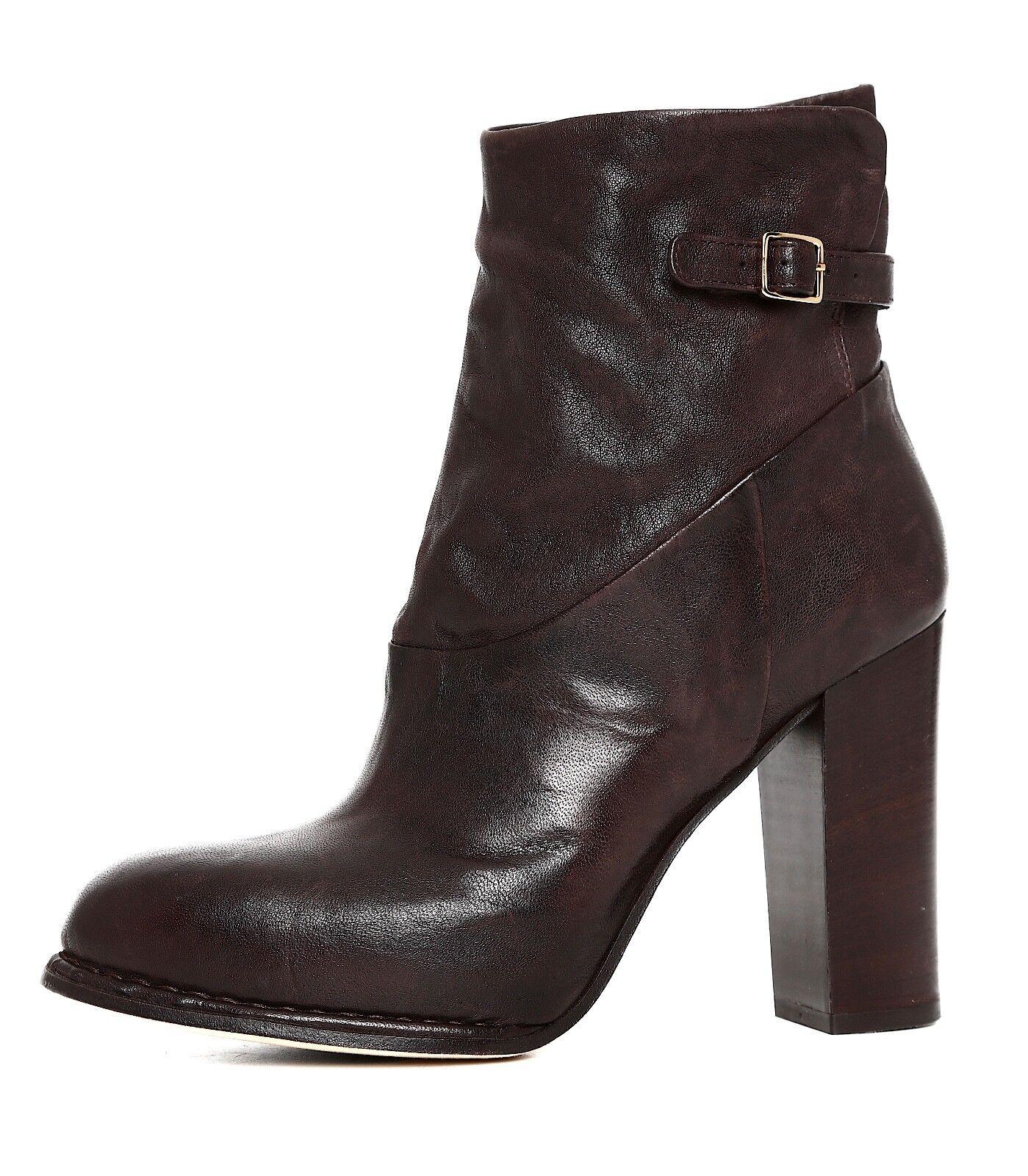 Alberto Fermani Side Zipper Round Toe Leather Bootie Brown Women 38.5 EUR 5998
