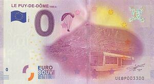 BILLET-0-EURO-LE-PUY-DE-DOME-FRANCE-2016-NUMERO-3300