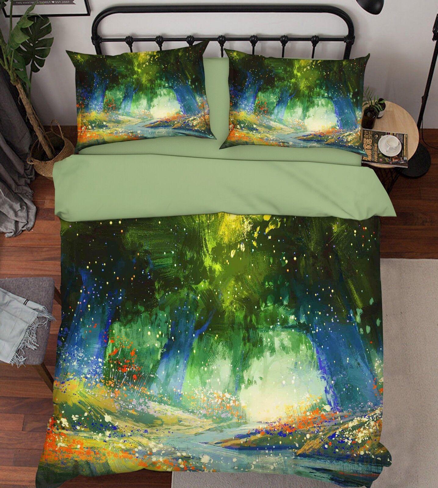 3D Fantasy Woods 76 Bed Pillowcases Quilt Duvet Cover Set Single King UK Summer