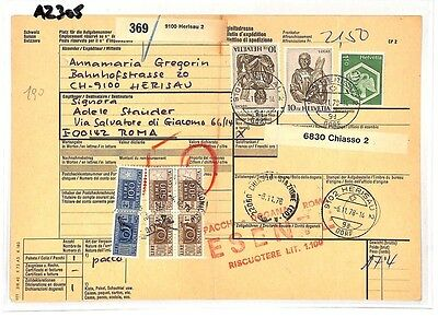 Nuttig Az305 1978 Switzerland High Values Herisau *insured Mail* Card Italy Pts Volume Groot
