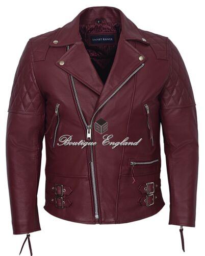 Men/'s Biker Jacket Cherry RECKLESS Quilt CLASSIC BIKER STYLE HIDE LEATHER 233