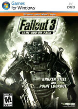 FALLOUT 3 ADD-ON PACK BROKEN STEEL AND POINT LOOKOUT for PC SEALED NEW