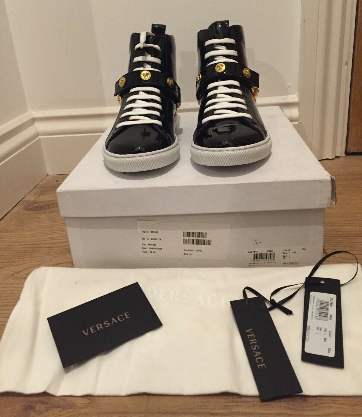Versace Black Patent Leather Trainers With Medusa Head gold Studs UK 5 EU 38