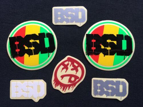 Nouveau 6 X BSD BMX stickers//decals Rasta Rouge Gris /& Blanc Cadre Fourche Autocollant