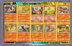 Lot-de-10-cartes-Salameche-Reptincel-et-Dracaufeu-Francaises-Neuves-Pokemon