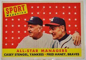 1958-Topps-Baseball-Card-475-All-Star-Managers-C-Stengel-amp-F-Haney-VG