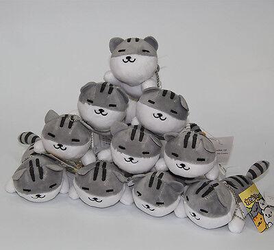 4inches Neko Atsume plush doll keychain toy new wholesales 10pcs a lot