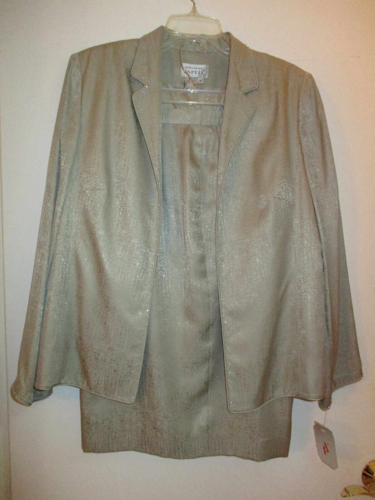 Adrianna Papell 3 pc Mother of the Bride sz 16 beige patterned suit dress skirt