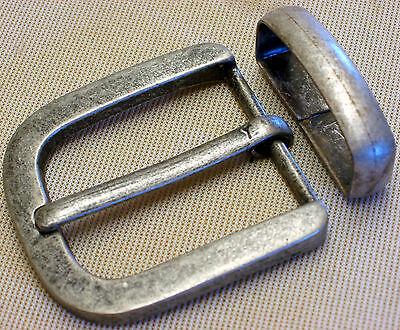 Gürtelschnalle + Schlaufe Für 4cm Breite GÜrtel Stabil Metall Farbe: Altsilber #