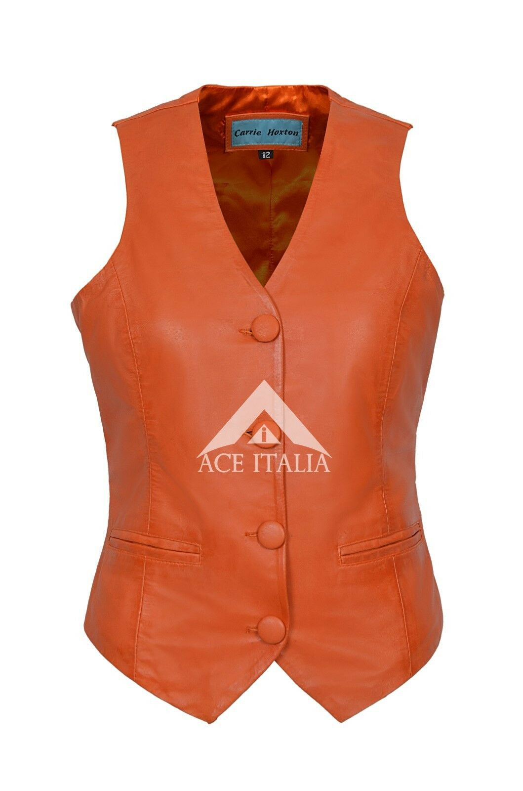 Ladies Leather WAISTCAOT orange Casual Party Fashion Deluxe 100% REAL NAPA 5701