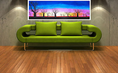 "Print tree boab landscape australia painting canvas sunset art 36/"" x12/"""