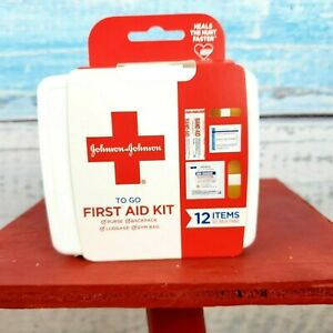 Johnson & Johnson To Go First Aid Kit 12 Items For Cuts & Scratches USA Seller