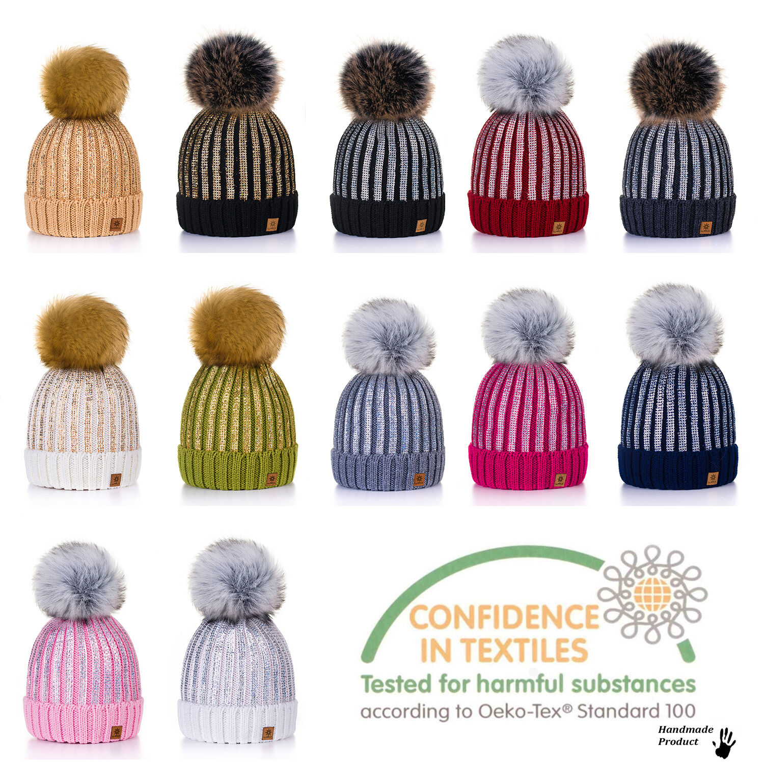 338aeeeda6c 4sold Womens Girls Winter Hat Knitted Beanie Large Pom Cap Ski Snowboard...  for sale online