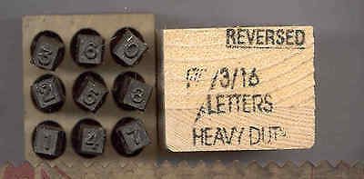 """Young Brothers Steel Hand Stamps Reversed Heavy Duty 3/16"""" Figures steel stamps"""