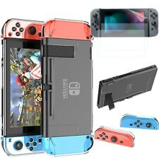 HD Screen Protector Front Film 2x + Hard Clear Case Cover For Nintendo Switch
