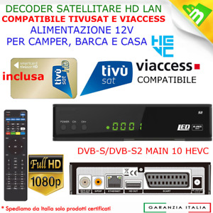decoder satellitare ricevitore tivusat hd con tessera scheda card tvsat inclusa