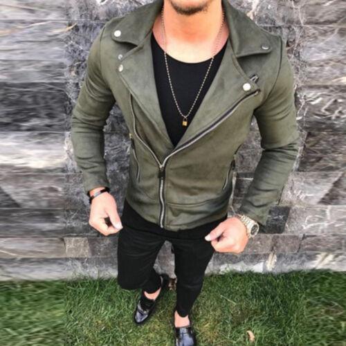 Mens Leather Jacket Slim Fit Zipper Motorcycle Biker Motor Punk Coat Top Outwear