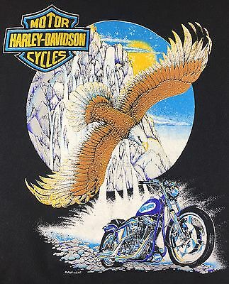True Vintage 80s 90s Harley Davidson Motorcycles Graphic Eagle Black Sweatshirt