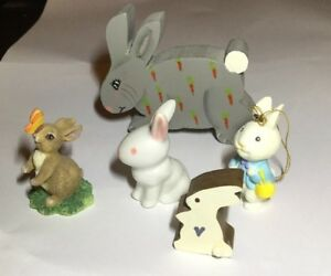 Lot-Of-5-Rabbit-Bunny-Figurines-Easter-Knickknacks-Cute-1-5-To-2-5-Tall