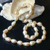 Genuine White Cream Freshwater Keishi Pearl 14k Gold Necklace 16.5