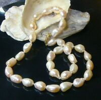Genuine White Cream Freshwater Keishi Pearl 14k Gold Necklace 16.5