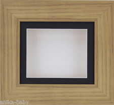 Small Oak effect Deep Box Display frame Medals 3D 2D Art Baby Casts Black White
