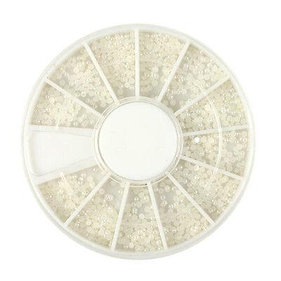 1.5mm White Pearl 3D Nail Art Decoration Wheel Nail Art Tool