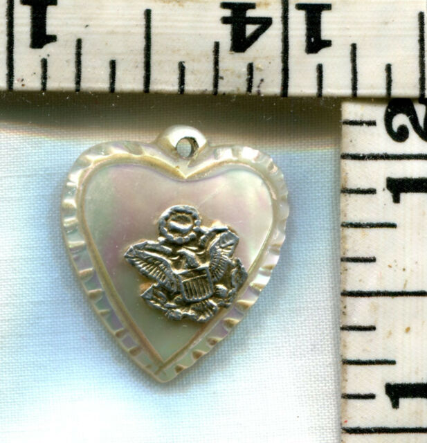 VINTAGE STERLING BRACELET CHARM~MOTHER OF PEARL MILITARY HEART CHARM~$16.00!!