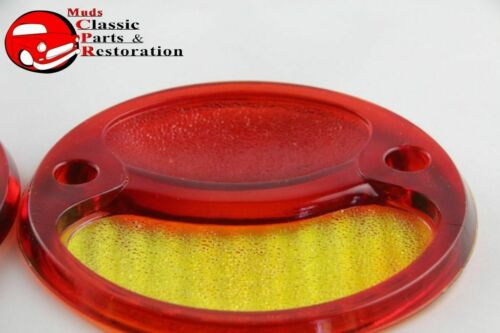 28-31 Ford Model A Tail Light Lamp Turn Signal Glass Lenses Red Amber New Pair