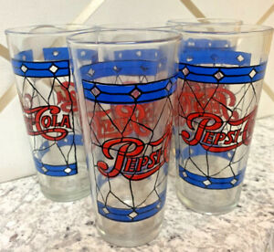 Pepsi-Cola-Glasses-Vintage-Lot-5-Tiffany-Style-Stained-Glass-1970-s-Red-Blue