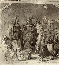 VILLON Cabaret La Pomme de Pin  FLAMENG 1831 1911 Gravure 1870