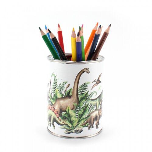 12 Dreikant Buntstiften Kinder Stifteköcher Stiftebecher Dinosaurier inkl