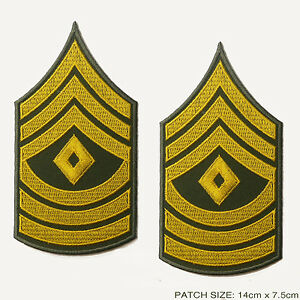 US-ARMY-039-FIRST-SERGEANT-039-Rank-Stripes-PAIR-of-Iron-On-Patches-Iron-On
