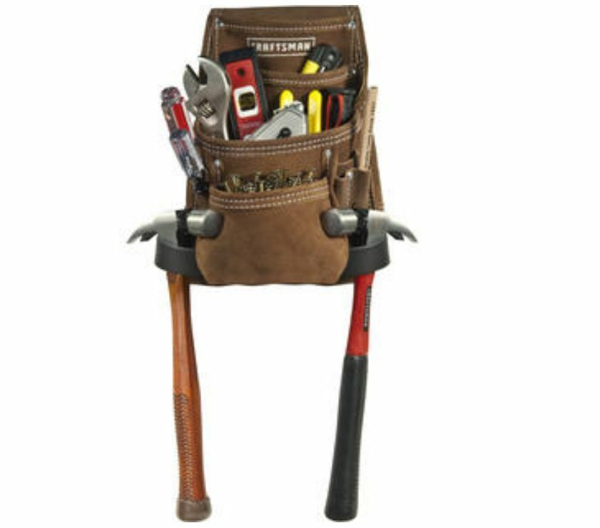 craftsman 10 pocket suede leather tool belt pouch apron