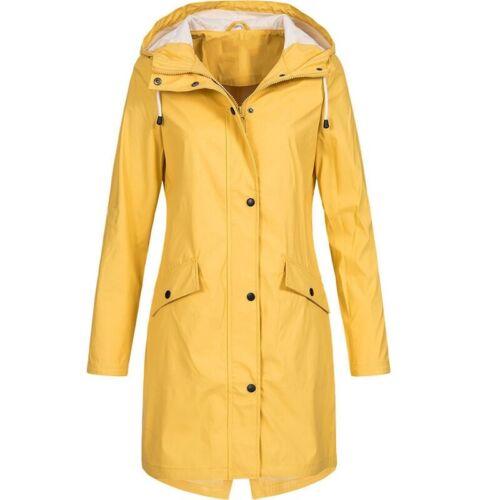 Womens Raincoat Wind Waterproof Jacket Hooded Rain Mac Outdoor Poncho Plus Size