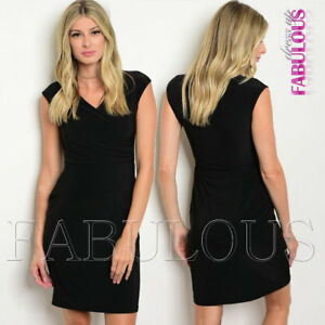 New-Sleeveless-Wrap-Style-Dress-Party-Formal-Evening-Stretchy-Size-6-8-10-XS-S-M
