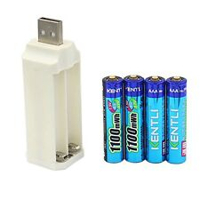 4pcs kentli PH7 aaa lithium rechargeable batteries + charger USA SHIPPING!!!!!!!