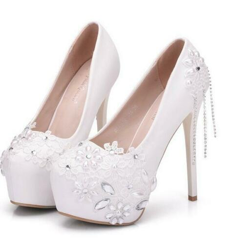 Details about  /Womens High Heels Lace Lace Pearl Rhinestones Bride Wedding Stilettos Pumps Prom