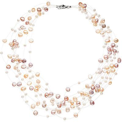 Collier Statement Perlenkette 10-reihig mit Süßwasser Perlen 45 cm Halskette