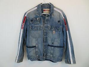 Details about Vintage Pepe Jeans London Blue Denim Distressed Multi Pocket Jacket Size L