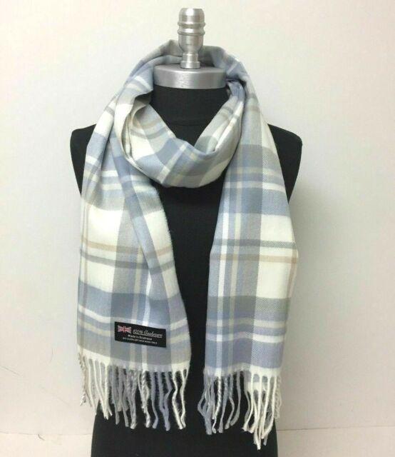 NEW 100/% CASHMERE SCARF SCOTLAND Plaid Light Blue Brown Cream SOFT Wool Wrap