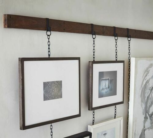 "Bronze 23/"" Rail Set 2 Chain Photo Frame Hanging Picture Modern Display Wall Art"