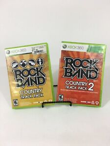 Rock-Band-Country-Track-Pack-1-and-2-Xbox-360-2011-Complete-CIB-RARE