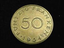 Deutschland, Saarland,  50 Franken, 1954, J.-803, Cu/Al.! orig.! f/vz.!