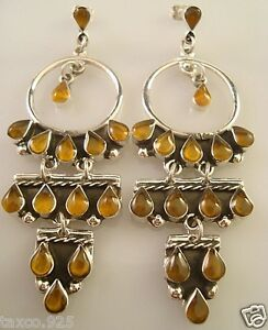 TAXCO-MEXICAN-925-STERLING-SILVER-AMBER-BEADED-BEAD-HOOP-DANGLE-EARRINGS-MEXICO