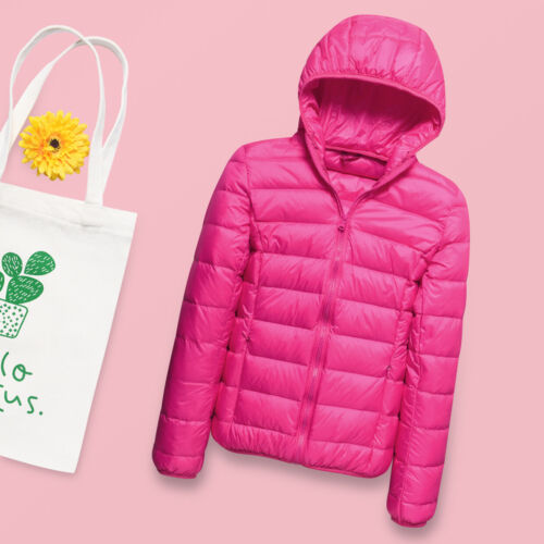 Packable Women Ultralight 90/% Duck Down Jacket Winter Hooded Coat Parka Puffer